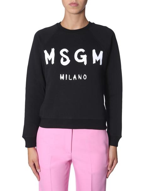 MSGM Round Neck Sweatshirt in nero