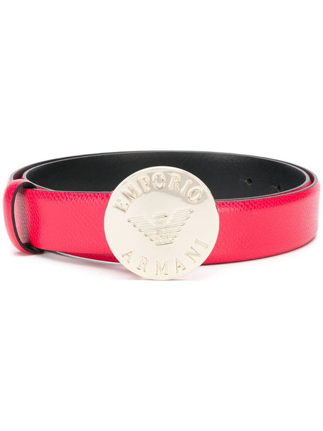 Emporio Armani logo engraved thin belt in red