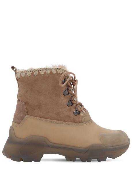 MOU 50mm Leather & Rubber Lace-up Boots in beige