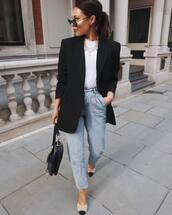 jeans,high waisted jeans,mules,black bag,dior bag,black blazer,white turtleneck top,casual