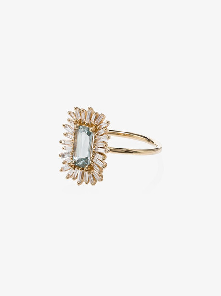 Suzanne Kalan 18K yellow gold Fan diamond and sapphire ring