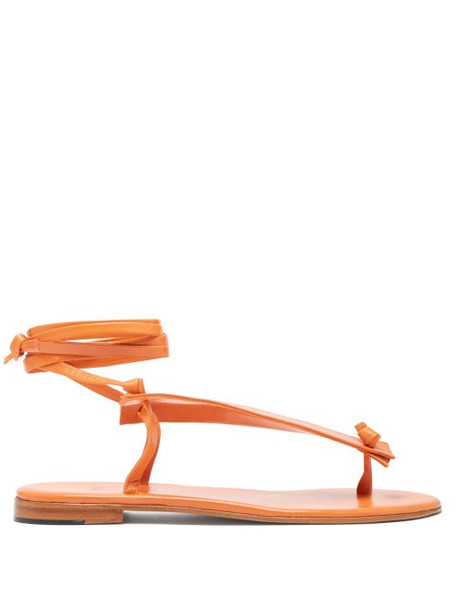 Martiniano - Bibiana Ankle Tie Leather Sandals - Womens - Orange