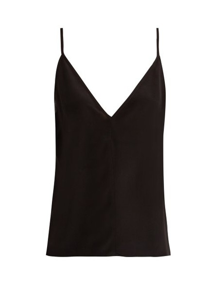 Raey - Fitted Deep V Neck Silk Cami Top - Womens - Black