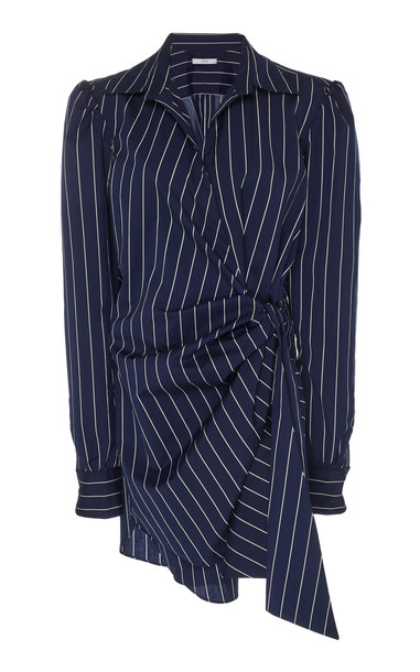 Tome Wrap Crepe Shirtdress in navy