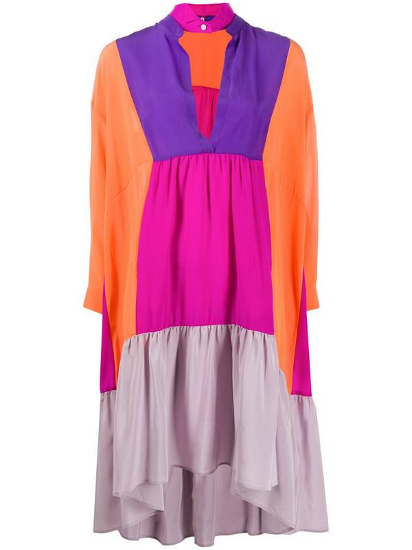 Jejia colour-block tunic dress in orange