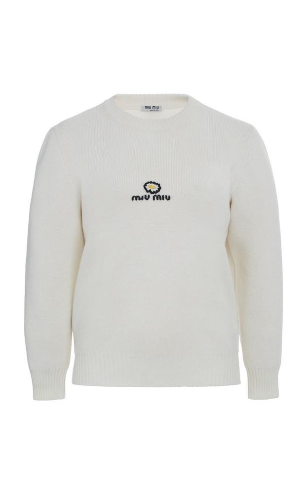 Miu Miu Logo Knit Pullover Size: 36 in white