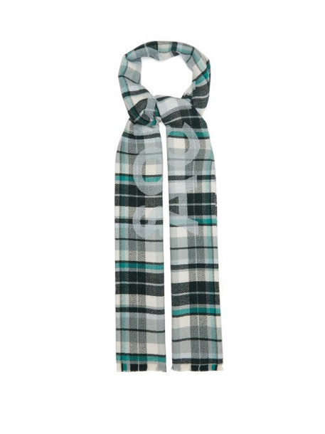 Acne Studios - Victoria Checked Wool Scarf - Womens - Green