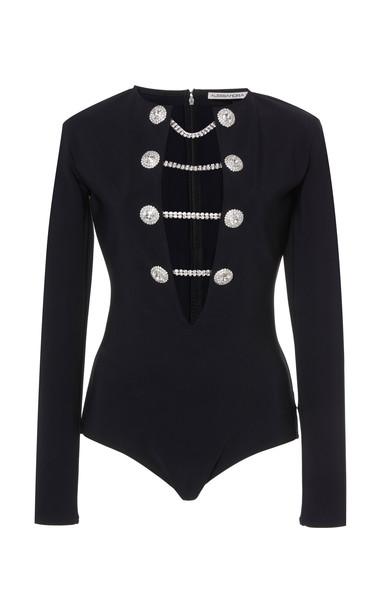 Alessandra Rich Chain-Detail Long-Sleeve Jersey Bodysuit Size: 40 in black