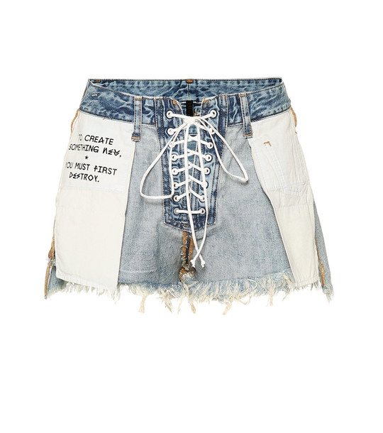 Unravel Mid-rise denim shorts in blue