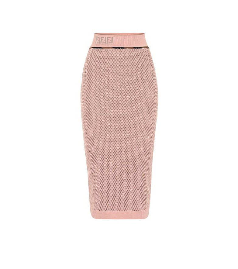 Fendi Mesh midi skirt in pink