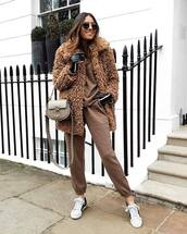 coat,faux fur coat,tracksuit,brown,white sneakers,trainers,bag,leather gloves