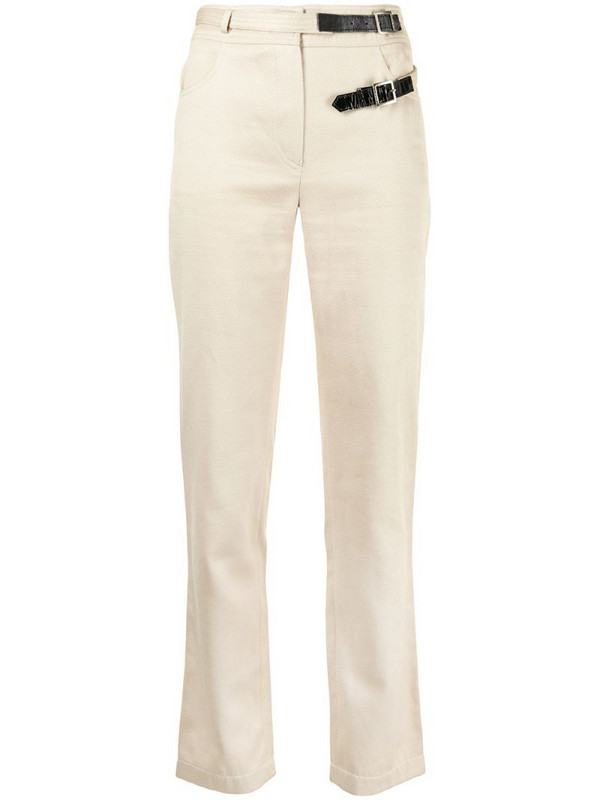Chanel Pre-Owned buckled straight-leg trousers in neutrals