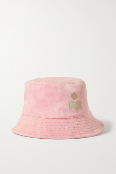 Isabel Marant - Haley Embroidered Stretch-cotton Twill Bucket Hat - Pink