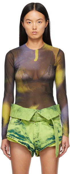 Marques Almeida SSENSE Exclusive Yellow & Black Mesh Long Sleeve T-Shirt
