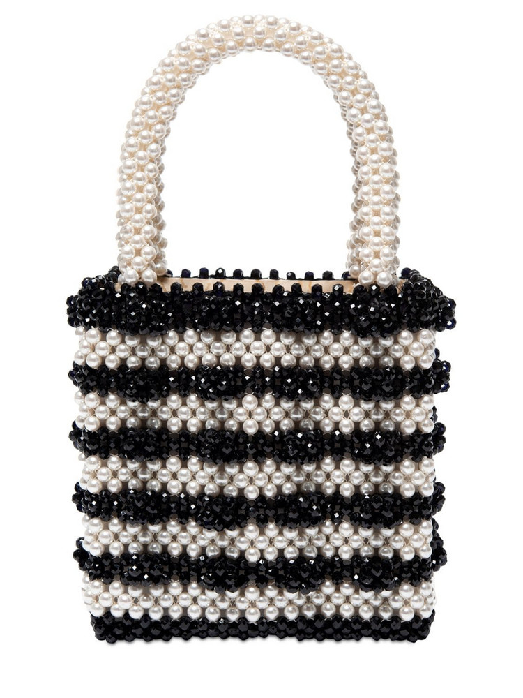 SHRIMPS Antonia Beaded Bicolor Top Handle Bag in black / white