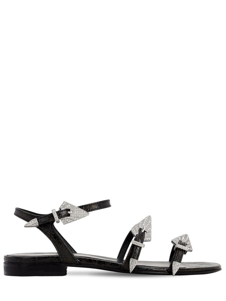 ZADIG & VOLTAIRE 10mm Used Leather Sandals in black