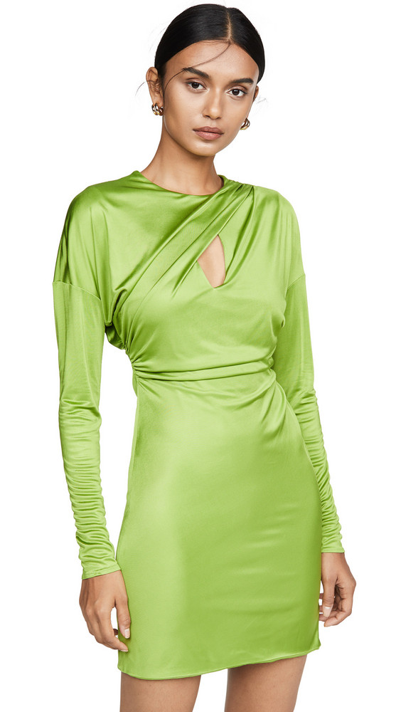 Versace Draped Long Sleeve Mini Dress in green