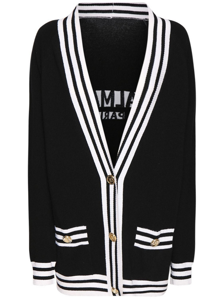 BALMAIN Wool Blend Knit Cardigan W/back Logo in black / white