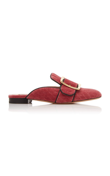 Bally Janesse Quilted Velvet Mules in pink