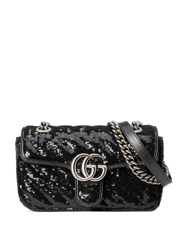 Gucci GG Marmont mini sequin shoulder bag in black