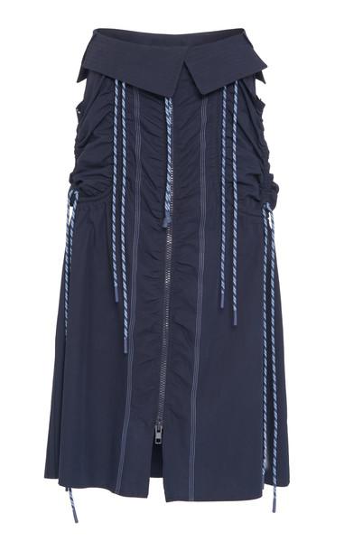 Sportmax Onesto Ruched Cotton Midi Skirt Size: 4 in navy