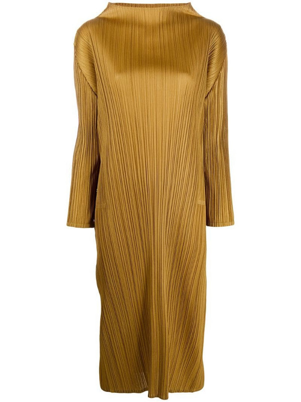 Pleats Please Issey Miyake plissé shift dress in gold