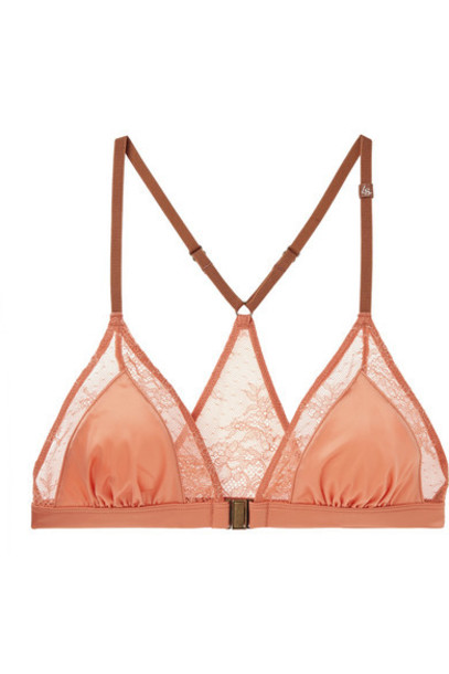 Love Stories - Naomi Stretch-lace And Satin Soft-cup Triangle Bra - Blush