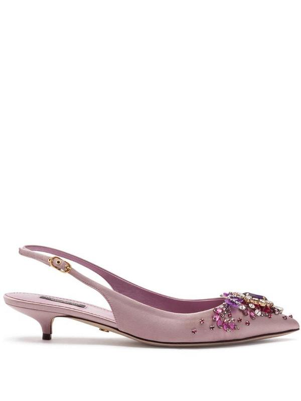 Dolce & Gabbana embellished 60mm slingback pumps in pink