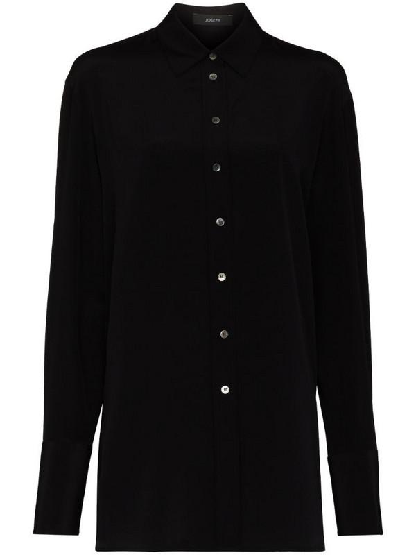 Joseph Brooks long-sleeve silk shirt in black