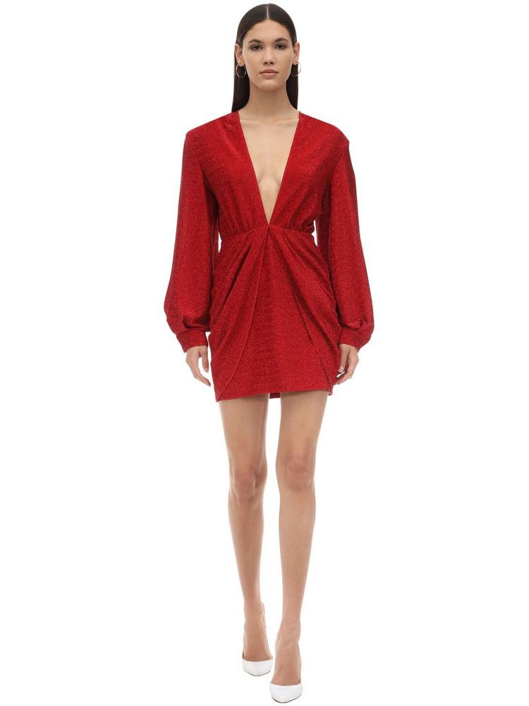 SARA BATTAGLIA Draped Stretch Lurex Mini Dress in red