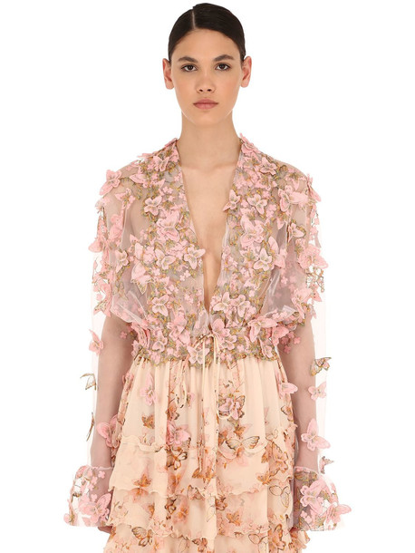LUISA BECCARIA Embellished Tulle Top in pink