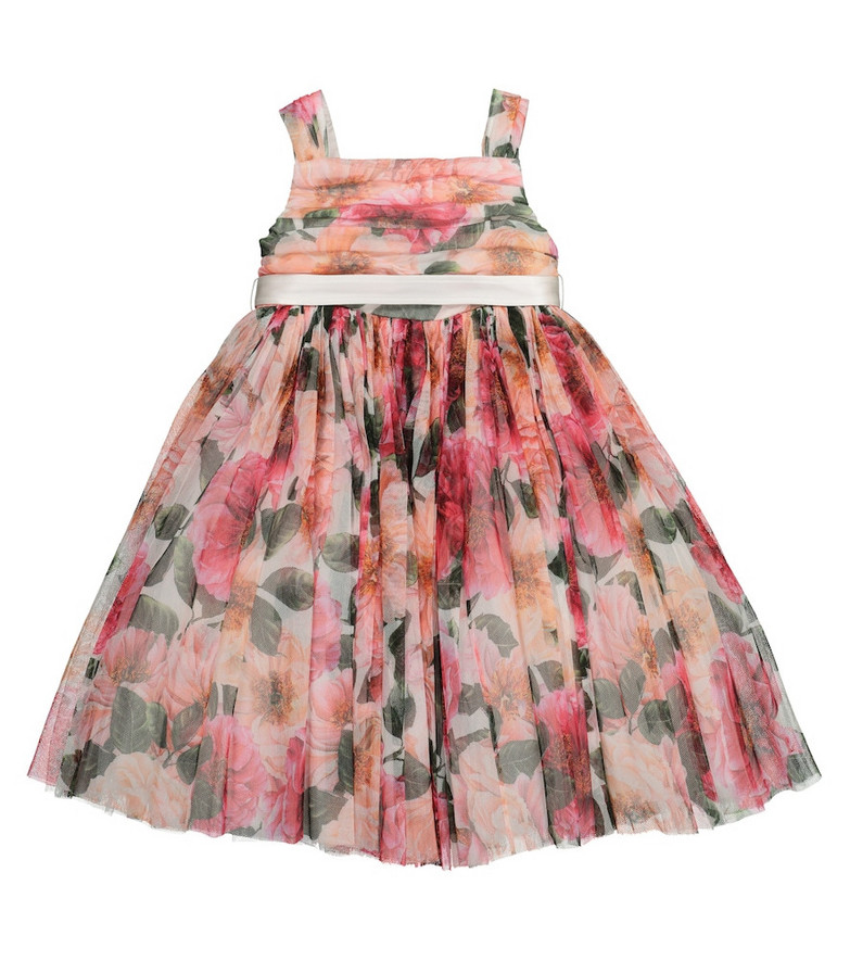 Dolce & Gabbana Kids Floral tulle dress in pink