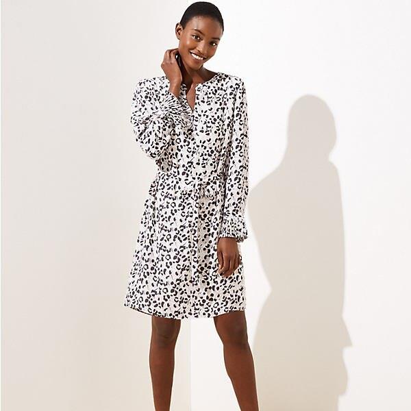 LOFT Leopard Print Pleated Cuff Dress
