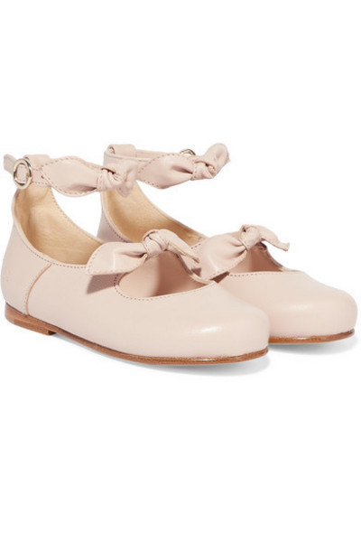 Chloé Kids - Sizes 22 - 24 Bow-detailed Leather Ballet Flats in pink