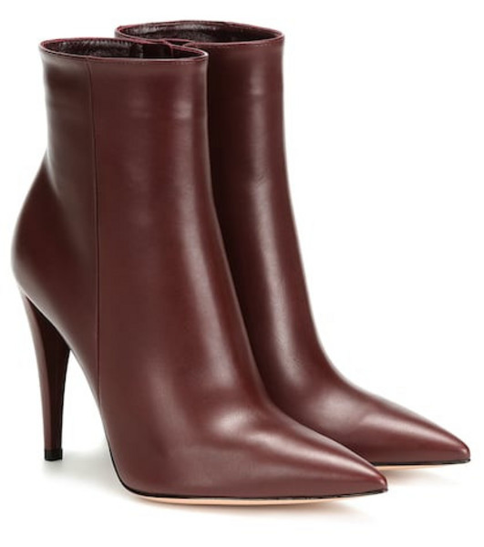 Gianvito Rossi Scarlet leather ankle boots in red