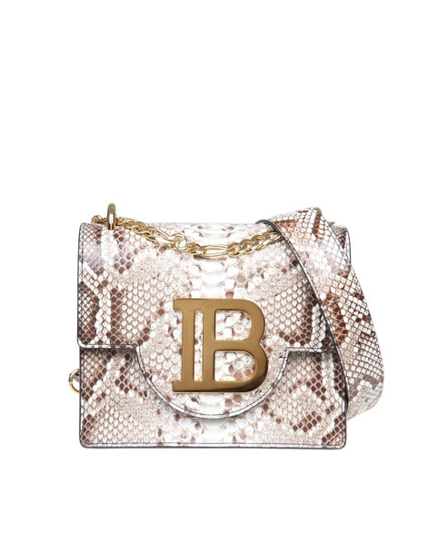 Balmain B-bag 21 Shoulder Bag In Leather With Pythoned Print