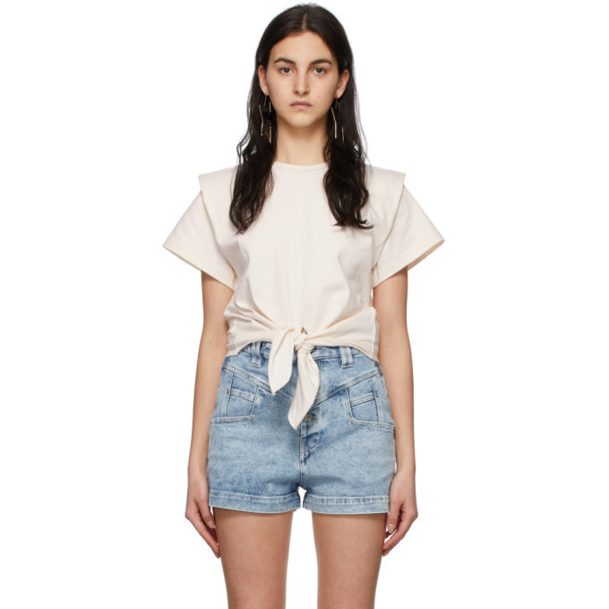 Isabel Marant Off-White Zelitos Tied Up Shirt in ecru