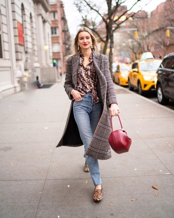 shoes loafers leopard print high waisted jeans plaid coat shirt red bag