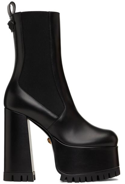 Versace Black Medusa Heeled Chelsea Boots