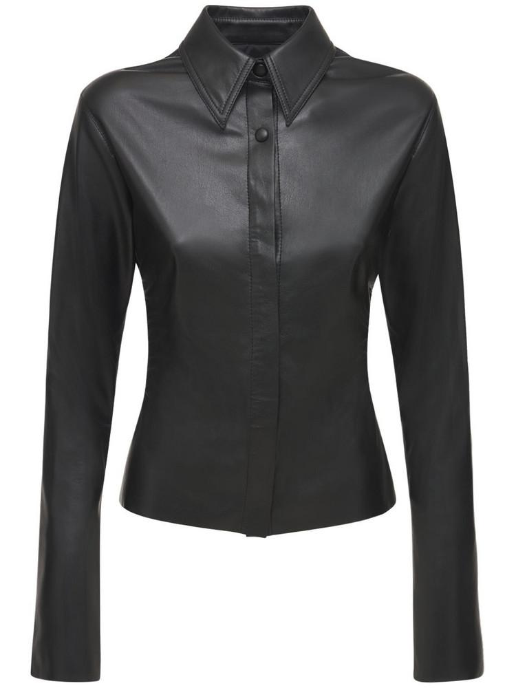 NANUSHKA Shado Faux Leather Fitted Shirt in black