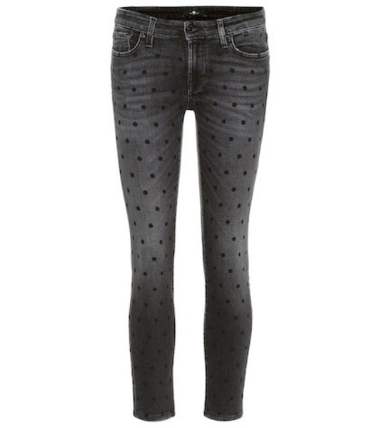 7 For All Mankind Pyper Crop mid-rise skinny jeans in grey