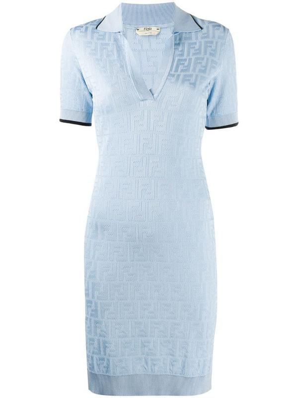 Fendi all-over logo dress in blue