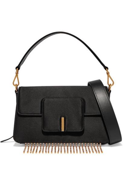 Wandler - Georgia Leather-trimmed Crystal-embellished Satin Shoulder Bag - Black