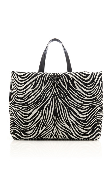 Prada Leather-Trimmed Printed Shell Tote