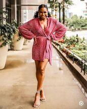 dress,pink dress,mini dress,wrap dress,long sleeve dress,sandals