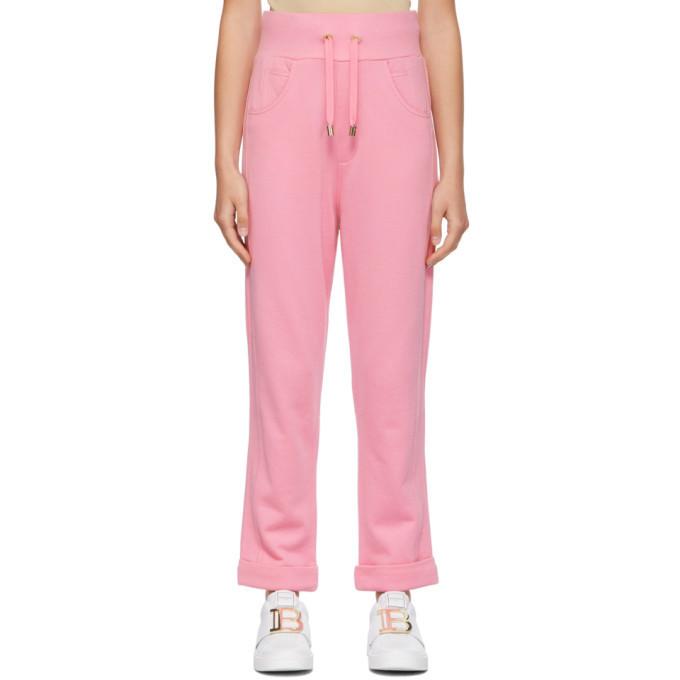 Balmain Pink Embossed Monogram Lounge Pants in rose