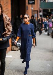 dress,navy,navy dress,olivia palermo,celebrity,blogger,fashion week,streetstyle