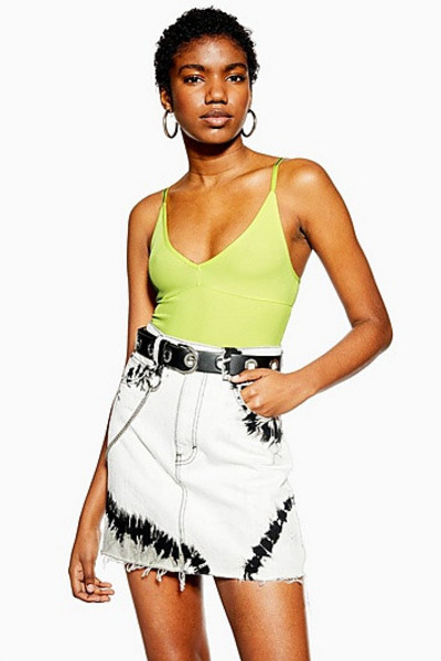 Topshop Plunge Strappy Bodysuit - Lime
