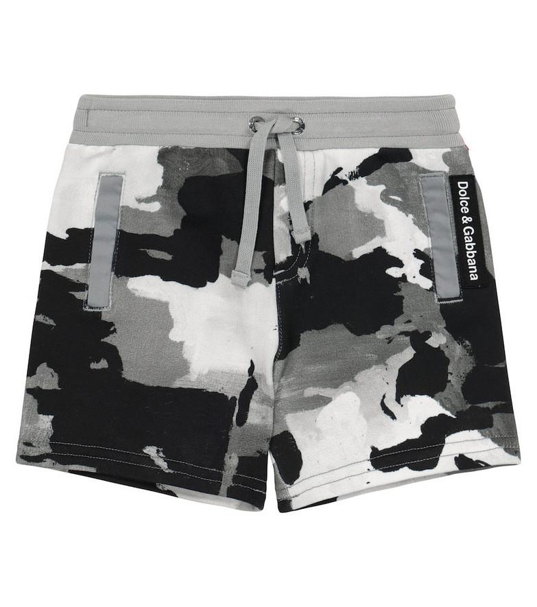 Dolce & Gabbana Kids Baby camo cotton jersey shorts in black