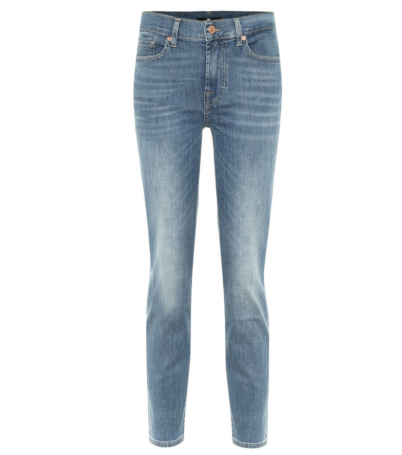 7 For All Mankind Roxanne high-rise skinny jeans in blue